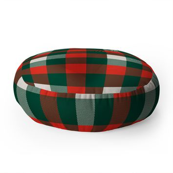 Zoe Wodarz Christmas Plaid Floor Pillow Round