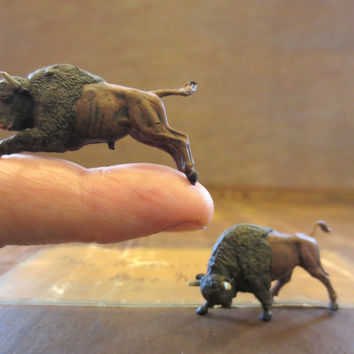 Oh, Give Me A Home....Miniature Buffalo Handpainted Tiny Bison Small Animals Terrarium Decor Tiny Animals Miniature Terrarium Animals