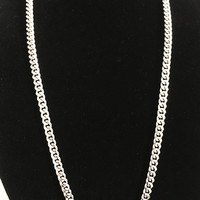 Heavy Silver Tone Chain Necklace Long Gourmette Diamond Cut Style Lays Flat Single Strand Unisex