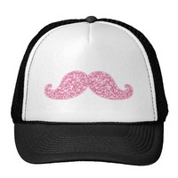 GIRLY PINK GLITTER MUSTACHE PRINTED