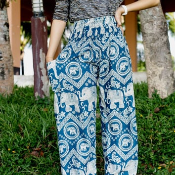 Green Elephant Pants Comfortable wear Teal Stamp Printed boho pants Harem pants/beach pants/Meditation pant/boho pants/Elephant Print design
