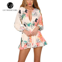 Hollow Out Boho Style Rainbow Floral Print Playsuit V Neck Long Sleeve Rompers Women Jumpsuit Elegant Party Ruffle Overall