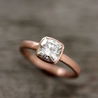 Cushion Cut Moissanite Engagement Ring in 14k Rose Gold, Solitaire Cushion Cut Gemstone Ring