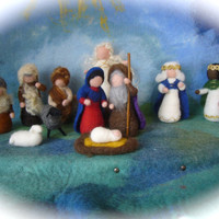 Wet  felted  Nativity Set. Waldorf .12 pieces.