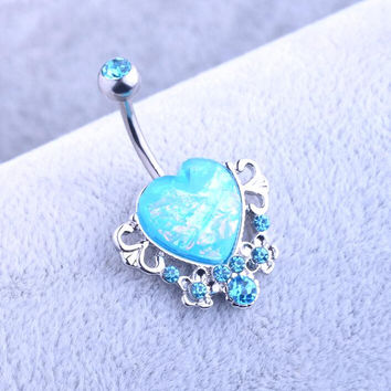 Body Piercing Jewelry Women Sexy  Retro love Navel Piercing Belly Button Ring navelpiercing chirurgisch staal