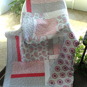 "Flirt Blossoms(Baby Rosebuds)- Rose/Pink/Gray/White Lap Quilt - 52"" x 75"" - Contemporary/Modern Lap Quilt  -Ready to Ship)"