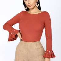 Take Me With You Pearl Top - Rust