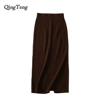 QingTeng Cashmere Long Skirts For Women Winter Solid Slim Knee Length High Waist Stretch Sexy Knitted Pencil Skirts Casual Jupe
