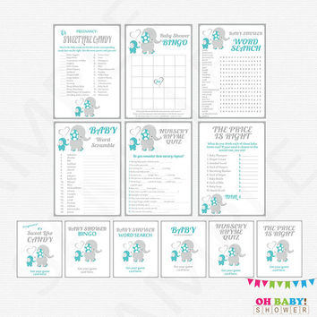 Baby shower games package, Elephant baby shower, Teal and Grey elephant baby shower Games Bundle, Bingo, Price is Right, Shower Signs, ELTBG