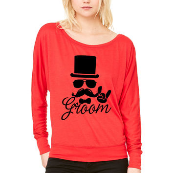 Groom Wedding Marriage Stag do night bachelor WOMEN'S FLOWY LONG SLEEVE OFF SHOULDER TEE