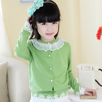 Child Girl Casual Long Sleeve Knit sweater Cardigan Coat = 1782341956