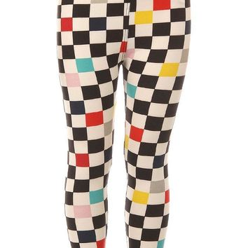 Kid's Colorful Checkered Pattern Printed Leggings