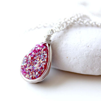 Sterling silver Magenta Druzy necklace, Iridescent Pink Druzy teardrop Agate sterling silver necklace, Jewelry trends 2015,Resort style