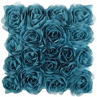 Mini Rosette Pillow - Teal