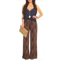 Navy & Brown Printed Palazzo Pant | Shop Trendy