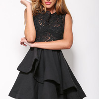 Black Sleeveless Lace Skater Dress with Layered Skirt