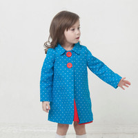 Girls coat Eco friendly linen coat turquoise blue coat
