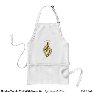 Golden Treble Clef With Notes And Shadows Adult Apron