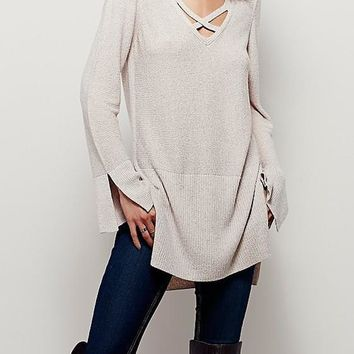 Apricot Plain Hollow-out Cut Out V-neck Pullover Sweater