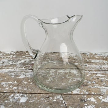 Crystal Glass Water Pitcher Wine Carafe Danish Modern Decor Glass Carafe