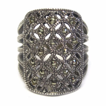 Vintage Sterling Filigree Marcasite Ring Size 5.5