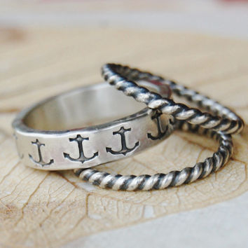 Anchor - Three Eco Friendly Recycled Sterling Silver Ring Bands - 5mm - Hand Forged and Hand Stamped - Custom Size