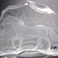 Hand Cut Glass Horse pattern paperweight,  24% lead crystal