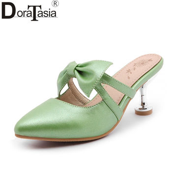 DoraTasia big size 32-47 pointed toe sweet bowtie women mules pumps fashion strange med heels party shoes lady footwear