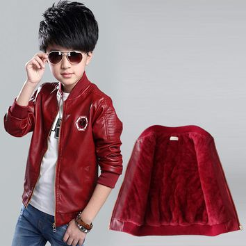 2017 New Fashion Winter Children Jacket PU leather Plus Velvet Zipper Cardigan Coat Embroidery Boys Jacket For 3-12 year
