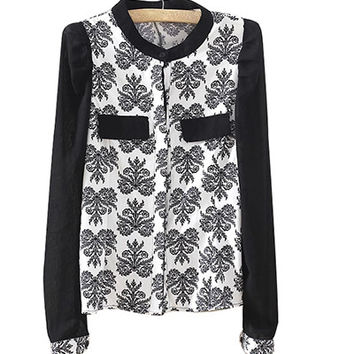 Block Patterned Print Long-Sleeve Chiffon Blouse