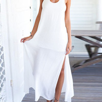 White Lace Back Summer Maxi Dress