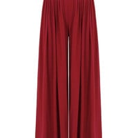 Red Wide Cut Leg Trousers With High-Rise Waist