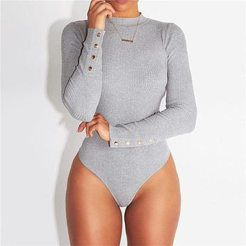 Grey Solid Long Sleeve Knitted Sexy Bodycon Bodysuit Women  Spring New Ribbed Button Turtleneck Bodysuit