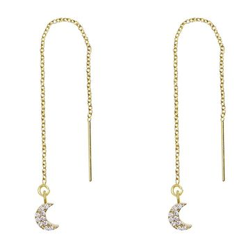Tiny Pave Moons Threader Earrings