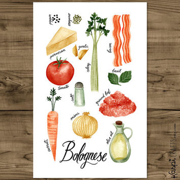 Food poster, bolognese sauce, italian food poster, kitchen print, wall art, cooking poster, kitchen art