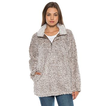 Frosty Tipped Women's Stadium Pullover in Brown by True Grit (Dylan)