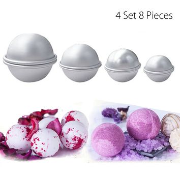 4 Set 8 Pieces Aluminium Bathroom Metal Bath Bomb Mold Fizzy Crafting DIY Mould Tool