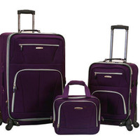 "Rockland Luggage 3PC Travel Set Spinner Expandable Suitcases Purple 28"" 19"" 14"""