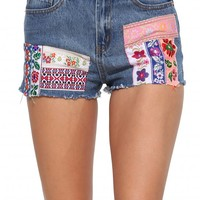 Patch Work Denim Shorts