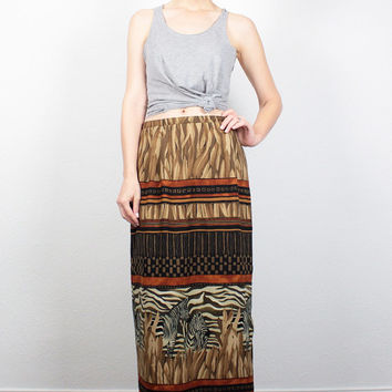 Vintage 80s Skirt Midi Skirt 1980s Maxi Skirt Zebra Animal African Safari Print Skirt Boho Skirt Straight Column Skirt M Medium L Large