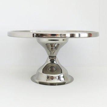Vintage metal wedding cake stand - Silver-tone cake display stand - Cupcake stand dessert stand - Silver alternative cake plate on pedestal