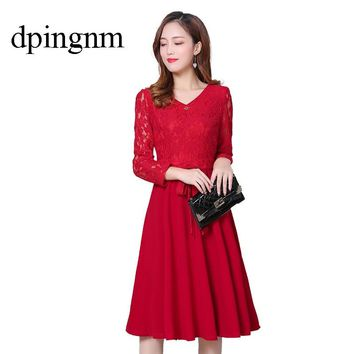 Autumn Women Long Sleeve Lace Dress Big Size S-2XL Dress Elegant Lady Long V-neck Dressess Vestidos Winter Bottomings
