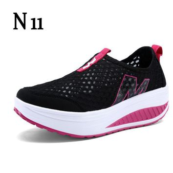 N11 Hot Selling 2017 Fashion Floral Print Leather Platform Evelator Shoes Women Swing Wedge Casual Shoes 5 Cm Platform Shoes