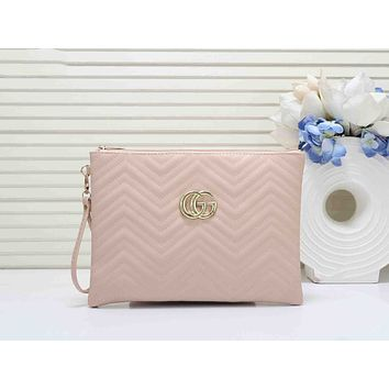 GUCCI Newest Popular Woman Leather Clutch Bag Leather Tote Handbag Pink