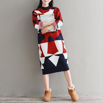 Winter New Fashion Women High Collar Preppy Sweater Dress Warm Thick Contrast Color Patchwork Long Bottoming Knit Dress