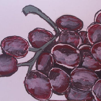 Grape   Original Acrylic . watercolor Painting modern fine art Still life  lovers Aceo size 6.40 / 8.96 cm / .2.5 x 3.5 Inch