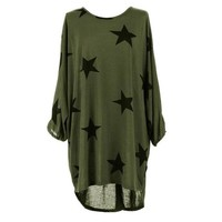 Summer T shirt Women Long Style Plus Size Batwing Sleeve Stars Print Tunic T-Shirt Tee Tops Female Camisetas Mujer Verano #23