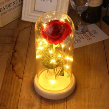 Rose Glass Cover Preserved Fresh Flower LED Flashing Glowing Floral Vase Glitter Luminous Home Decor Prop Valentine's Day Gift