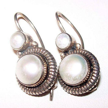 "White Moonstone Earrings 925 Sterling Silver Signed Wire Hooks 1 1/8"" Vintage"