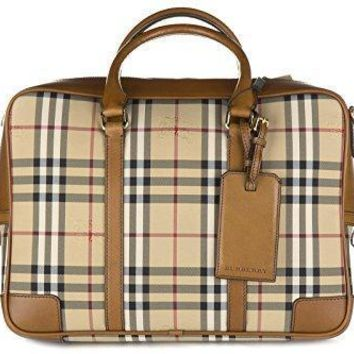 Burberry Briefcase Attach¨¦ Case Laptop Pc Bag Leather Horseferry Checknewburg Br